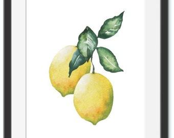 Lemon Print Instant Download Lemon Poster Watercolor Art Watercolor Lemon Kitchen Print Citrus Fruit
