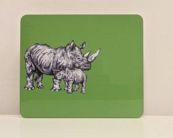 Hand Drawn Rhinoceros Placemat - Rhino Gift