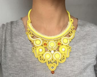 soutache necklace, yellow necklace, gift for her, embroidered necklace, soutache jewelry,  statement necklace, agate necklace