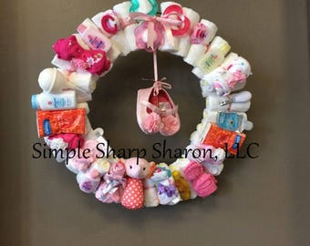 Diaper Wreath for a Baby Girl: Standard Edition