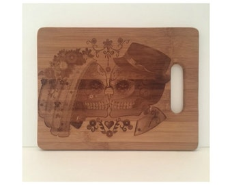 Sugar Skull, Personalized Bamboo Cutting Board, Engraved Wedding Gift, Anniversary Gift, Birthday Gift, Christmas Gift, Bridesmaid Gift