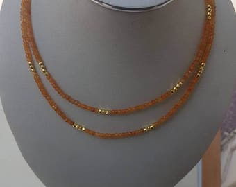 """CARNELIAN faceted rondelle 4mm with gold polished pyrite facetted beads necklace 40"""" each with silver spring clasp with gold polish."""