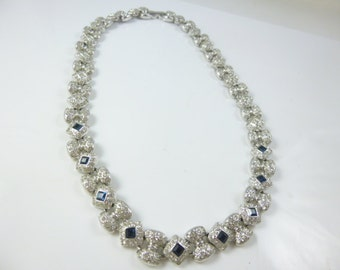 Sapphire Crystal Necklace, Sapphire Necklace, Silver and Crystal Necklace, Crystal Necklace, Bridal Jewelry, Vintage