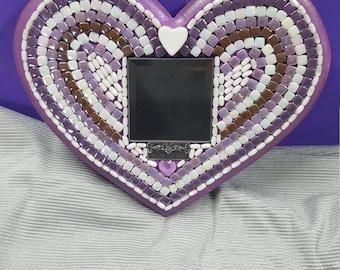 Handmade Mosaic Heart Mirror (Medium)