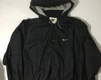 Vinatge 90s Nike air swoosh hooded black bomber jacket