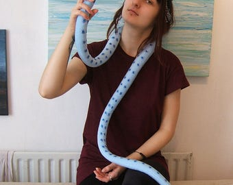Tentacle scarf in pale blue soft fleece, Octopus tentacles