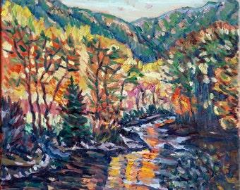 "Original Oil Painting, Automn forest, 16""x20"", 1701132"