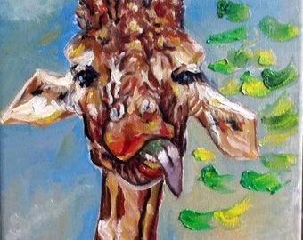 "Original Oil painting, Giraffe, 1703306, 16""x12"""