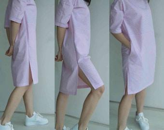 Striped cotton dress with pockets/Oversized shirt dress/Plus size dress/pink summer dress tunic/Beach dress tunic/Summer weekends dress