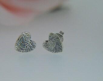 Silver Heart Earrings, Stud Earrings, Autumn Leaves, Nature Earrings, Heart Leaf Earrings, Autumn Jewellery (PMC) (UK)