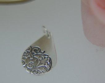 Silver Pendant, Silver Necklace, Teardrop Pendant, Art Nouveau, Small Pendant, Delicate Pendant, Nouveau design, (PMC) (UK)