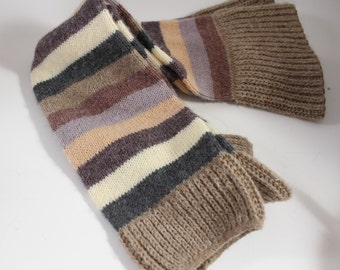 1980s Leg Warmers ~ Christian Dior Muted Stripes of Taupe/Gray/Brown/Peach/Ivory Lavendar - One Size Knit ~ Nice Condition