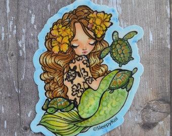 Honu Princess 3 Inch Vinyl Sticker, Inspired by Sea turtles, mermaids and tattoos. Planner Accessories Traveler's Notebook, Back to School