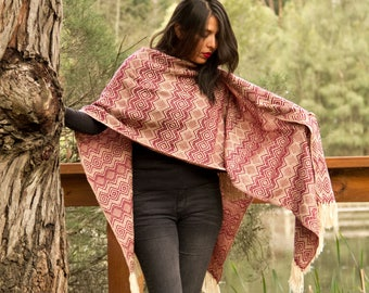 Handcrafted Andean alpaca shawl, ruana, women poncho-style