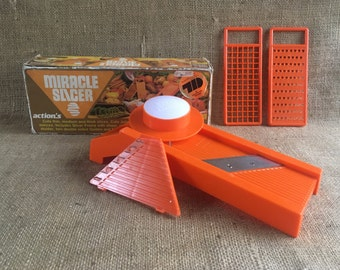 Vintage Slicer, Miracle Slicer, Mandolin Slicer, Dicer, Retro Kitchen, Decor, 80's, Orange, Cooking, As seen on TV, Plastic