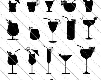 Cocktail Glasses Silhouettes SVG, Cocktail Glasses Clipart,Cocktail svg Cut File,DXF,PNG Use with Silhoutte Studio & Cricut Instant Download