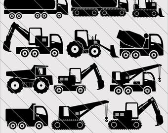 Construction Silhouettes SVG, Truck clipart, Construction svg Cut File,DXF,PNG Use with Silhoutte Studio & Cricut Instant Download