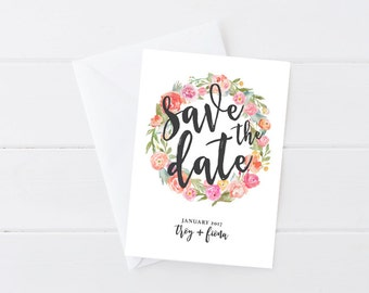 Printable Floral Save the Date, Digital Download Wedding Save the Date