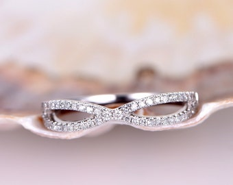 Diamond Wedding Band White Gold Ring Half Eternity Diamond Wedding Ring Stacking Matching Ring Anniversary Ring Promise Ring Valentine's Day