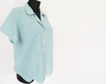 90s UK18 Pinstripe Shirt, Green & White, Green Stripes, Retro, Vintage Clothing, Hipster, Blouse
