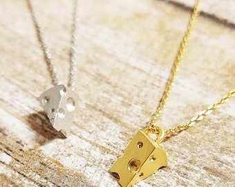 Brass Sliced Cheese Piece Pendant Necklace Simple & Cute, Tiny, Dainty