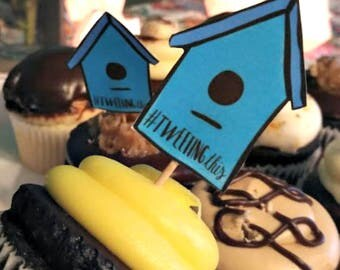 Tweeting This bird house cupcake topper. Funny, cute, illustrated printable calligraphy for last minute party
