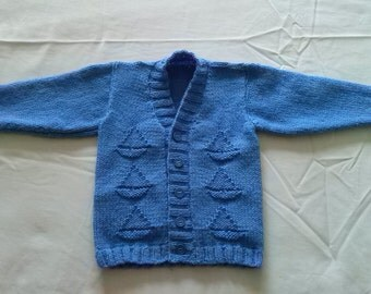 Baby Boys Knitted Blue V Neck Boat Cardigan/Jacket/ Sweater  Sizes 0-6mths, 6-12mths and 1-2yrs. 000-00, 00-0 and 1-2yrs (approx).