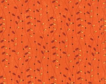 By The HALF YARD - Hello Fall by Sandy Gervais for Moda, #17784-12 Falling Leaves Pumpkin, Yellow & Dark Orange Vines on Bright Orange