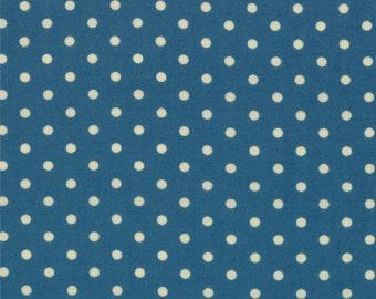 "By The HALF YARD - Potluck by Sandy Klop of American Jane for Moda, Pattern #21647-18 Denim, 1/8"" Polka Dots on Blue"
