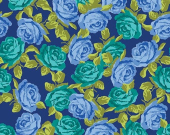 BTHY - Olivia by Emily Hayes of Penny Rose Fabrics for Riley Blake, #C4241 Blue, Tonal Blue and Green Roses on Navy Blue, by the HALF Yard