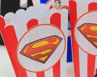superman-themed popcorn boxes set 10