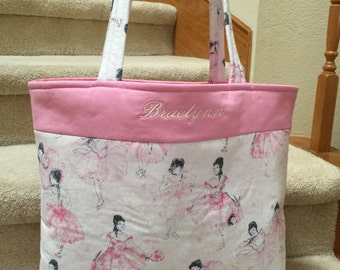 Tote, handmade, ballet theme, pink