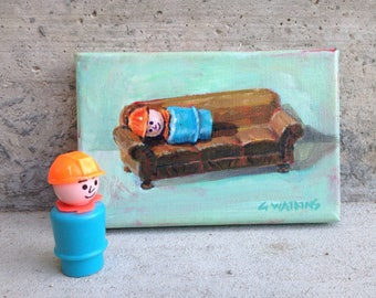 Vintage Fisher Price Little People construction worker on Strombecker couch in an original painting by Greta Watkins- Hard Worker
