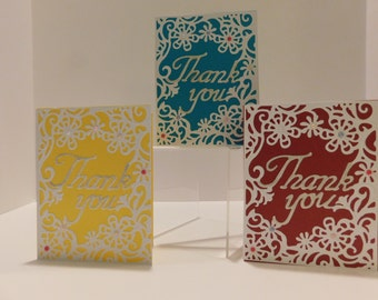SALE Card Set, 12 Card set, Thank You Cards, , Die Cut Thank You Cards, Appreciation Cards, Set of 12 Cards, Thanks Cards