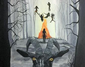 Black Phillip Artwork,Live Deliciously 8x10 Original Art Print,The VVitch Art, Occult Coven Witches Art, Black Phillip Horror Artwork Art