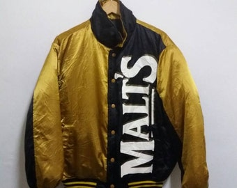 Vintage Malt reversible Down Jacket pullover/gold black/large/baseball/hiphop