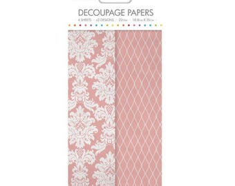 Romantic Damask Floral Pattern Decoupage Papers x 4 - Simply Creative