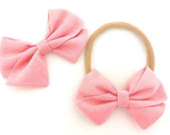 Signature Bow in Rose - Baby Fabric Bow - Nylon headband Bow - Baby Girl Headband - Baby Bows -Toddler Bow - Choose Nylon Headband or Clip