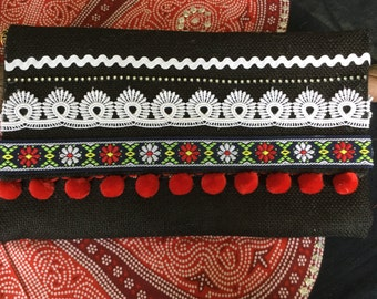 Black Hessian Embellished Clutch