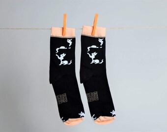 Black and white cats socks Pets socks