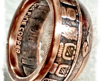 Mayan Calendar 1 Oz Handcrafted .999 Pure Copper Coin Ring Size 10-16