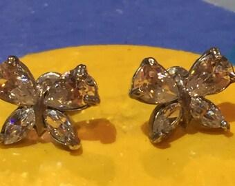 Sterling rock crystal butterfly earrings