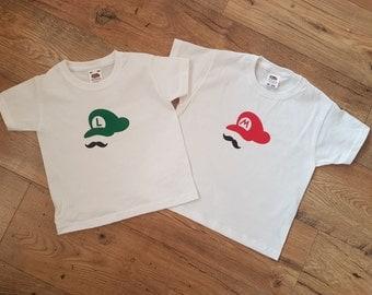 Matching Mario & Luigi T- shirts childrens toddlers baby - made to order
