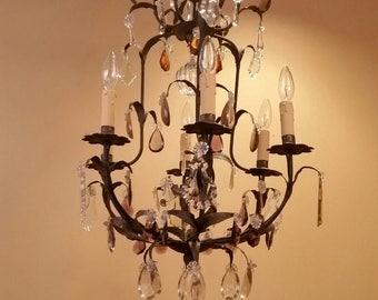 Antique Chandelier - Antique French Iron Six Light Chandelier with Crystal, Iron Chandelier, French Chandelier
