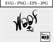 Woof - Commercial Use SVG - Dog SVG File - SVG Cut File - Cut File for Cricut - Commercial Use Clip Art - Dog Clip Art - Dog Art Print