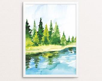 Watercolor print, forest print, tree printable, watercolor forest, watercolor printable, watercolor wall art, watercolor nature, lake print