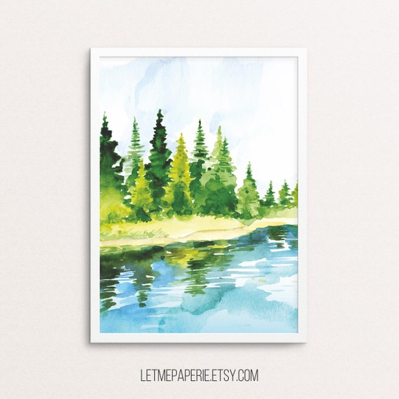 Watercolor print, forest print, tree printable, watercolor forest, watercolor printable, watercolor wall art, watercolor nature, lake print