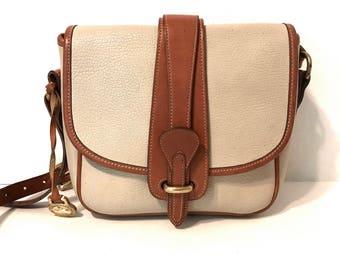 Vintage Dooney And Bourke Handbags Designer Handbags Dooney And Bourke Crossbody Handbags  Vintage Handbags Ivory Leather Bag Brown Trim