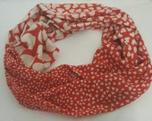 Valentine's gift, Heart shapes, Cotton scarf,Infinty scarf