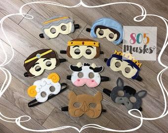 Christmas Nativity Masks, Kids Masks, Kids Costumes, Joseph and Mary Masks, Wise Men masks, Manger Scene Masks, Christmas Play Masks